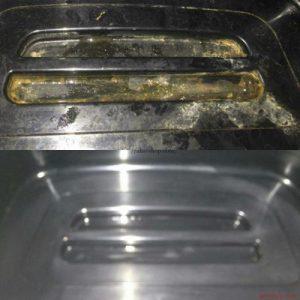 Очистить застарелый известковый налёт средством AMV