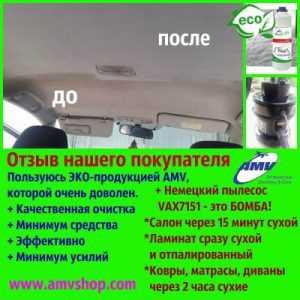 Я чищу салон автомобіля засобами AMV + пилосос VAX7151